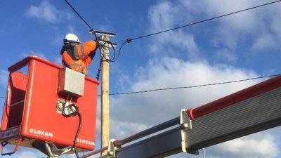 Sogeca déploiement fibre optique Rosace poteaux lignes électriques existant Alsace